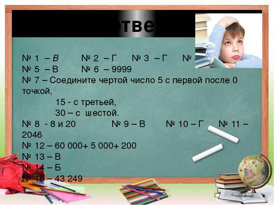 Проверь ответы : № 1 – В № 2 – Г № 3 – Г № 4 – А № 5 – В № 6 – 9999 № 7 – Сое...