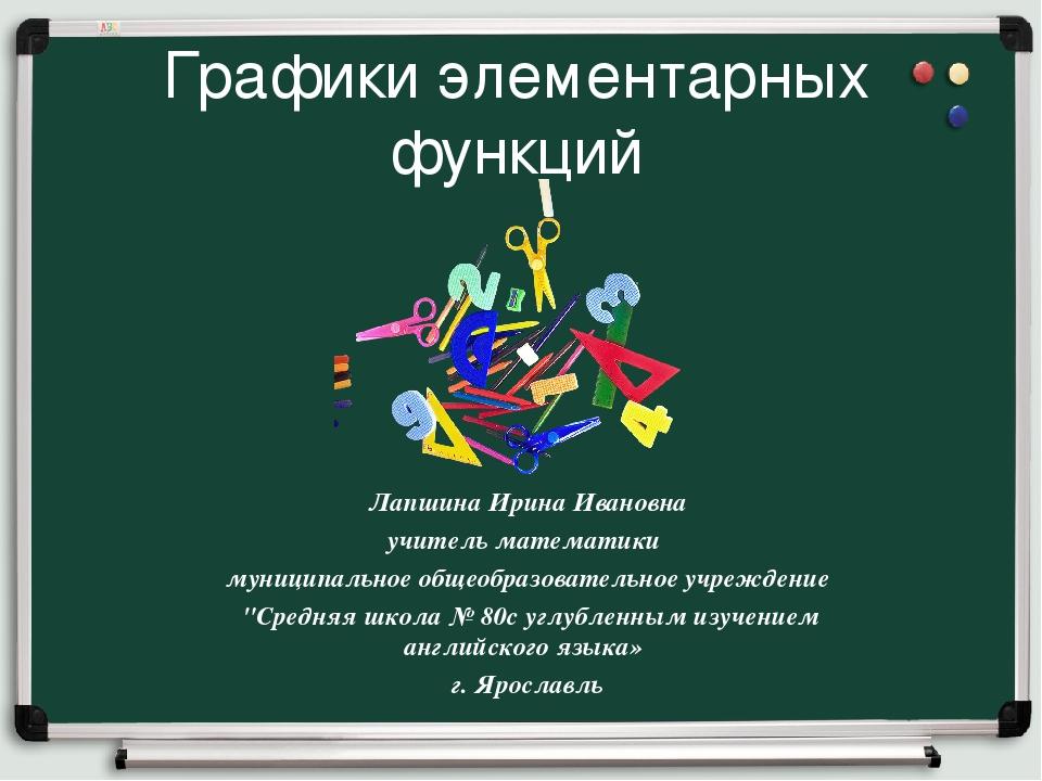 Графики элементарных функций Лапшина Ирина Ивановна учитель математики муници...
