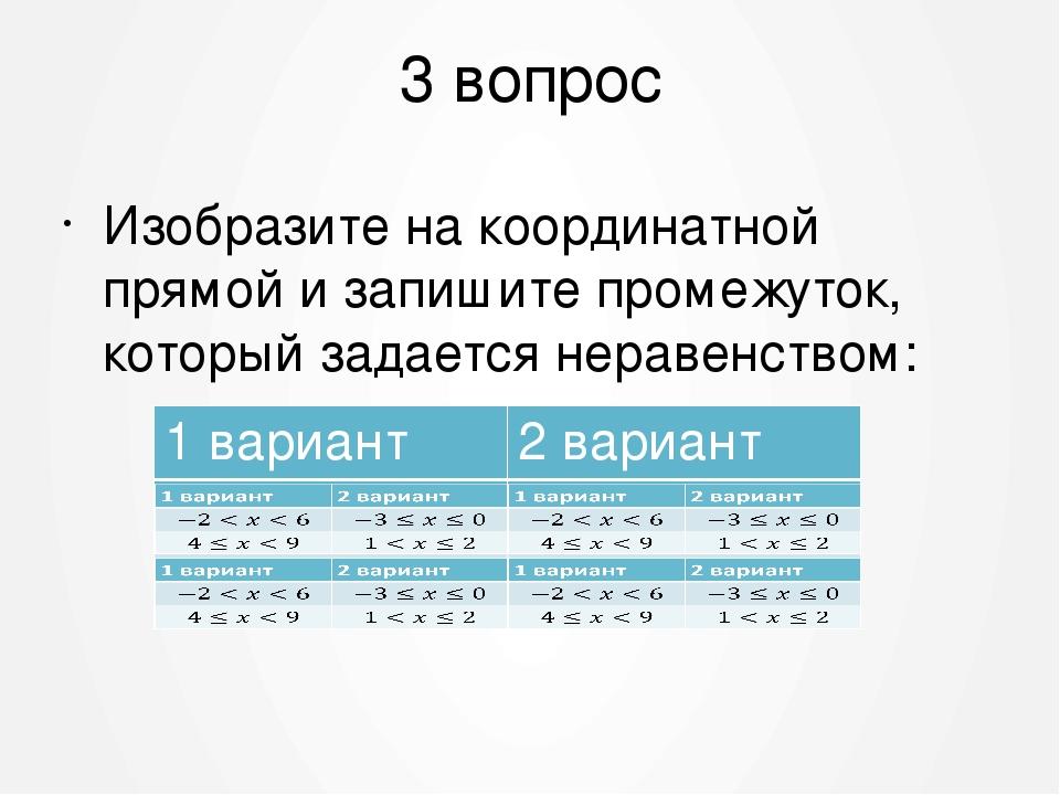 3 вопрос Изобразите на координатной прямой и запишите промежуток, который зад...