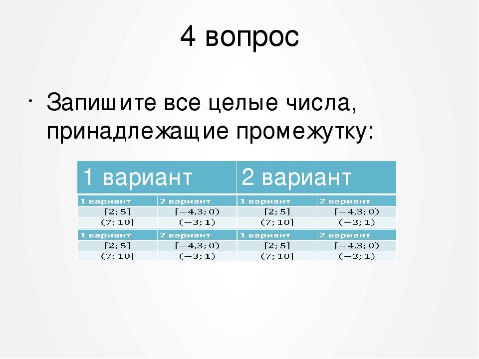 4 вопрос Запишите все целые числа, принадлежащие промежутку: