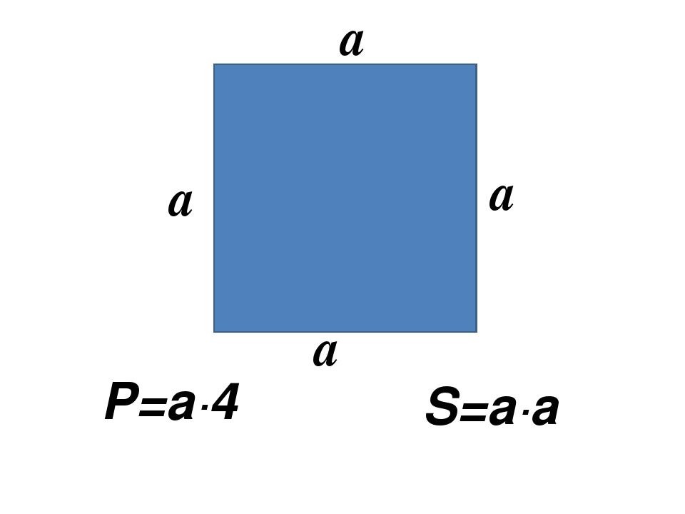 Р=а∙4 S=а∙a a a a a