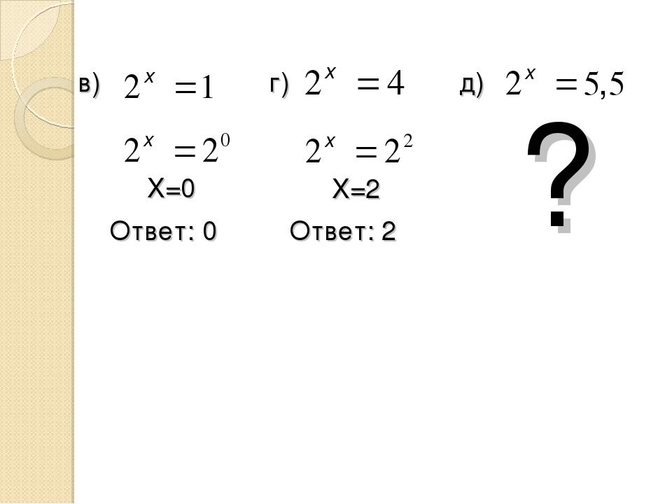 в) г) д) X=0 Ответ: 0 X=2 Ответ: 2 ?