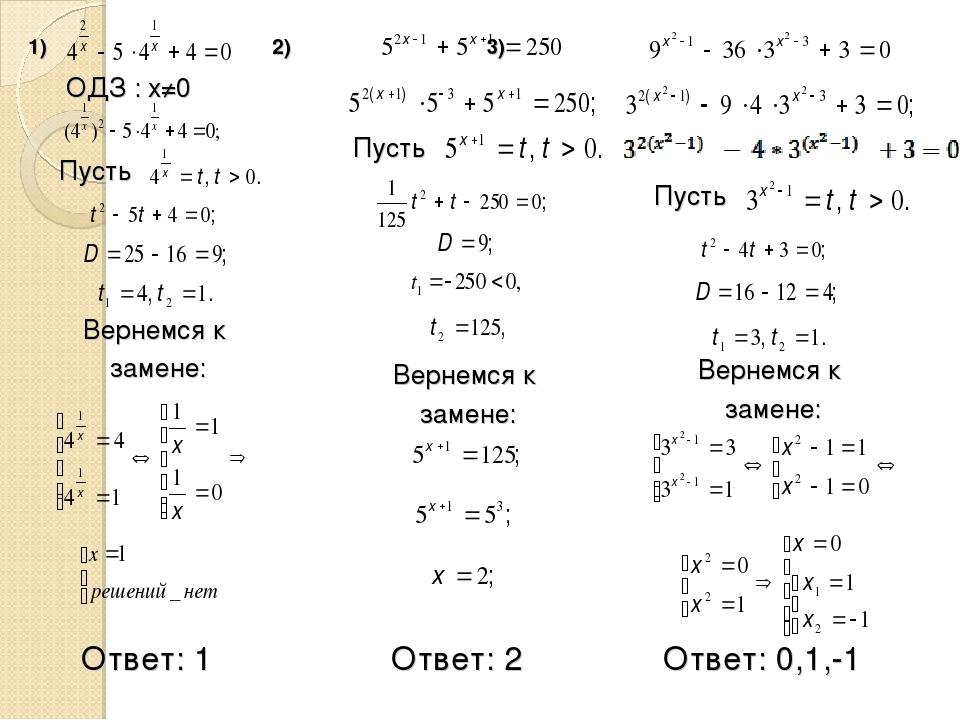 1) 2) 3) Ответ: 1 ОДЗ : x≠0 Пусть Вернемся к замене: Ответ: 2 Пусть Вернемся...