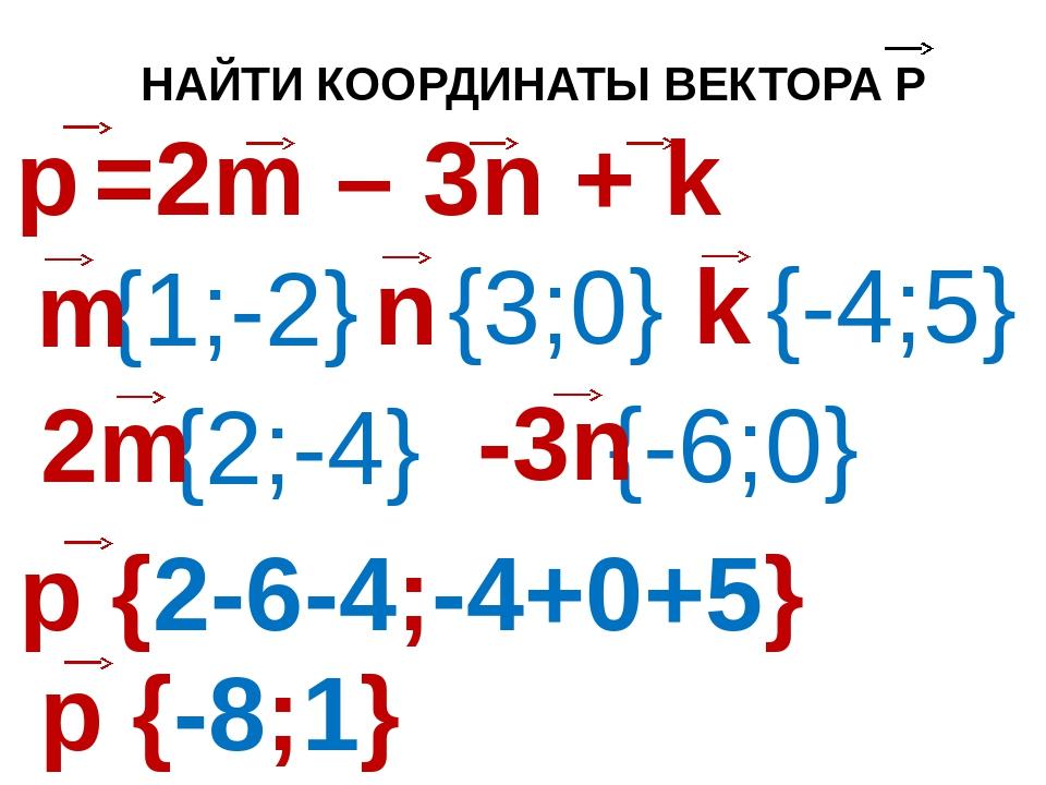 НАЙТИ КООРДИНАТЫ ВЕКТОРА Р {1;-2} {3;0} {-4;5} {2;-4} {-6;0}