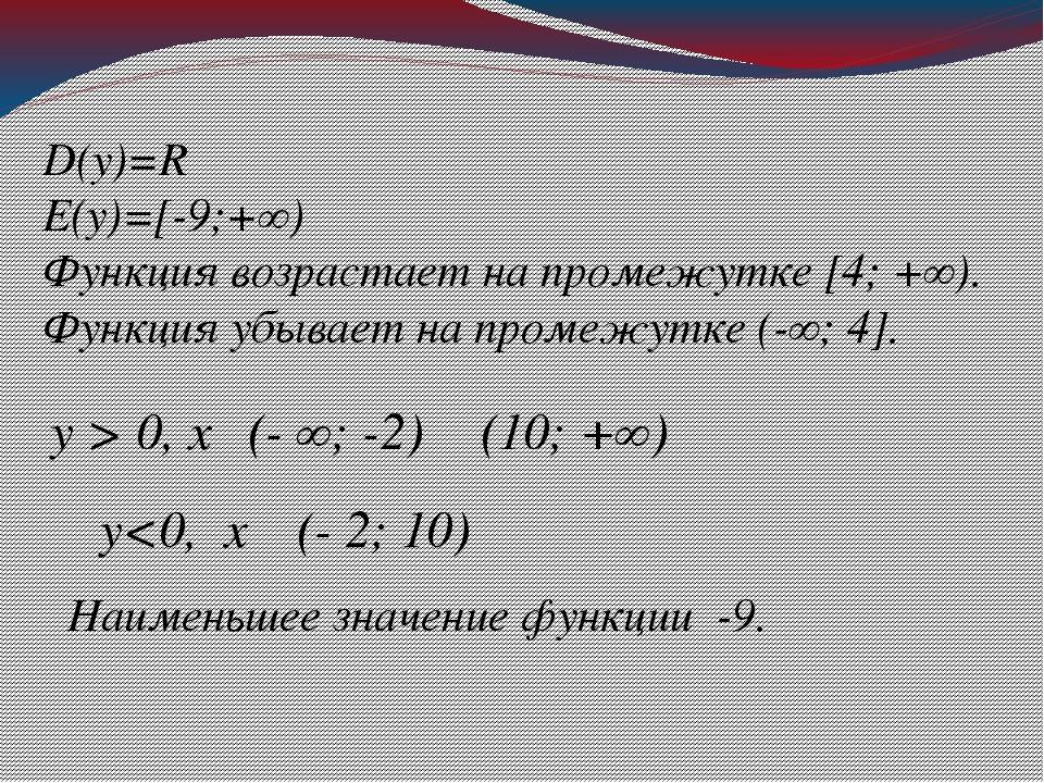 D(у)=R E(у)=[-9;+∞) Функция возрастает на промежутке [4; +∞). Функция убывает...