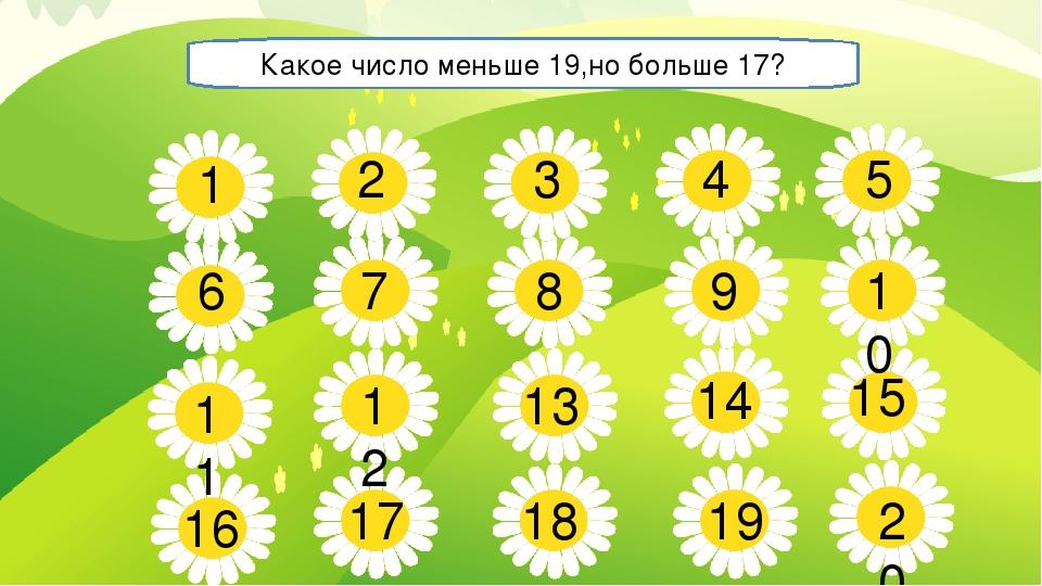 5 7 8 9 10 11 13 14 15 16 17 18 19 20 1 2 3 4 6 12 Какое число меньше 19,но б...