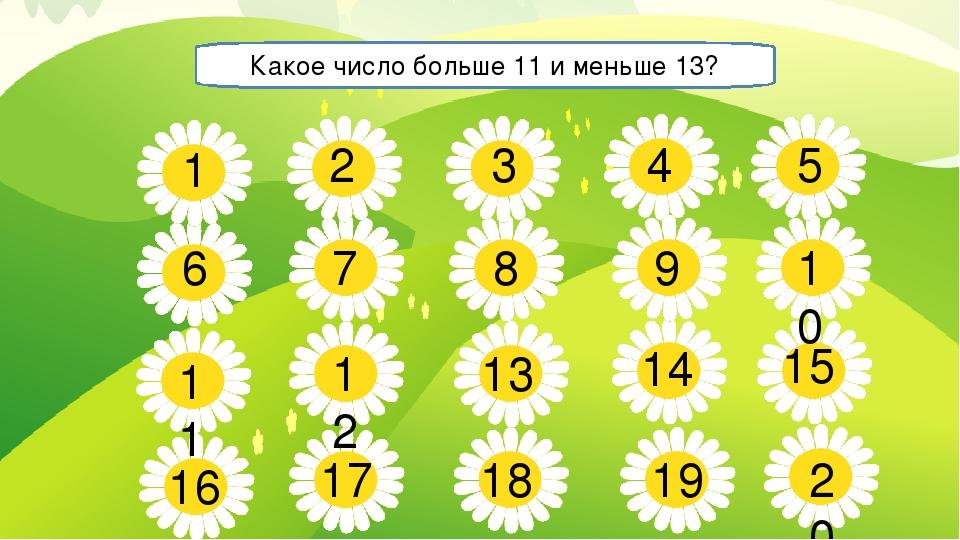 5 7 8 9 10 11 13 14 15 16 17 18 19 20 1 2 3 4 6 12 Какое число больше 11 и ме...