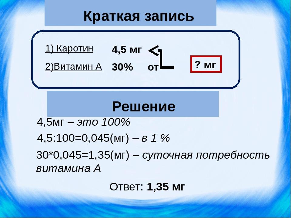 Краткая запись 1) Каротин 2)Витамин А 4,5 мг ? мг 30*0,045=1,35(мг) – суточна...