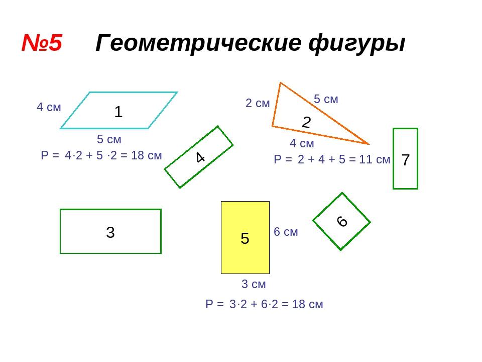 №5 Геометрические фигуры 1 2 4 5 3 6 7 4 см 5 см 5 см 4 см 2 см 3 см 6 см Р =...