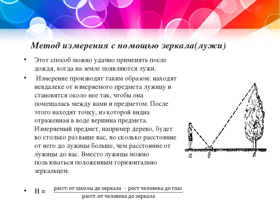 Метод измерения с помощью зеркала(лужи) Этот способ можно удачно применять по...