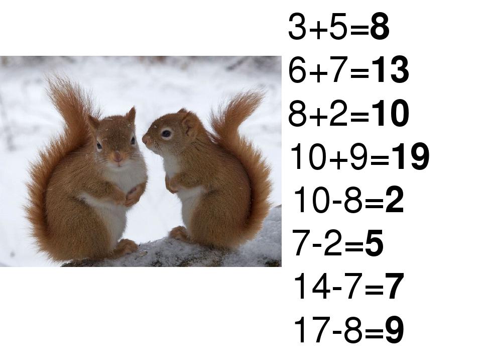 3+5=8 6+7=13 8+2=10 10+9=19 10-8=2 7-2=5 14-7=7 17-8=9