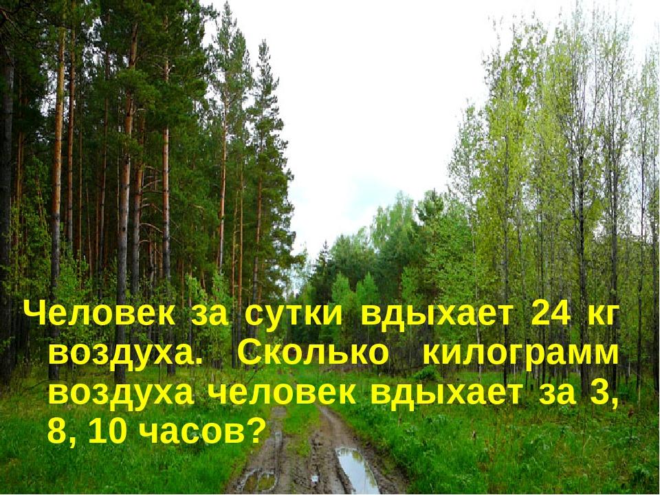 Человек за сутки вдыхает 24 кг воздуха. Сколько килограмм воздуха человек вды...