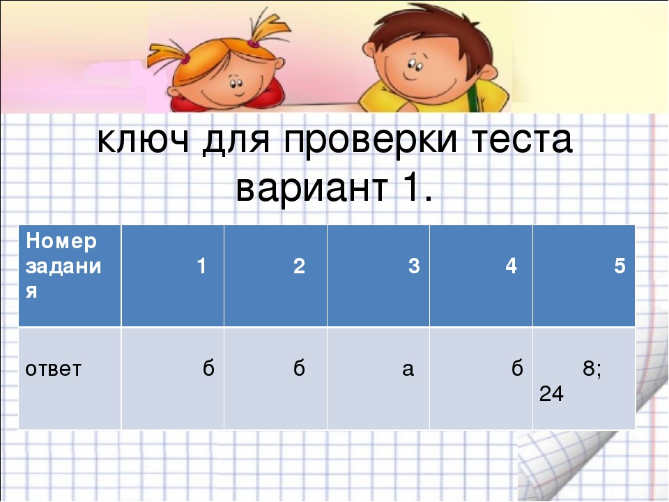 ключ для проверки теста вариант 1. Номер задания 1 2 3 4 5 ответ б б а б 8; 24