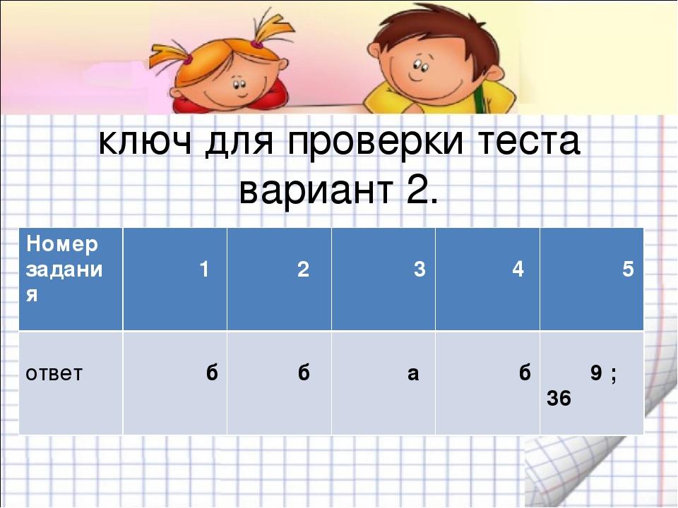 ключ для проверки теста вариант 2. Номер задания 1 2 3 4 5 ответ б б а б 9 ; 36