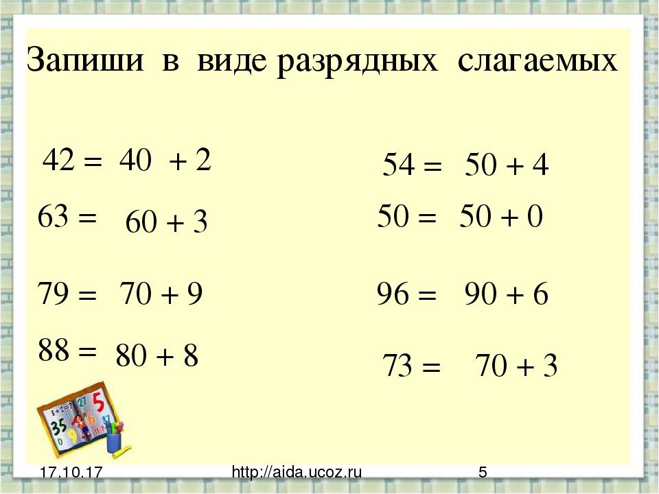 http://aida.ucoz.ru Запиши в виде разрядных слагаемых 42 = 40 + 2 63 = 60 + 3...