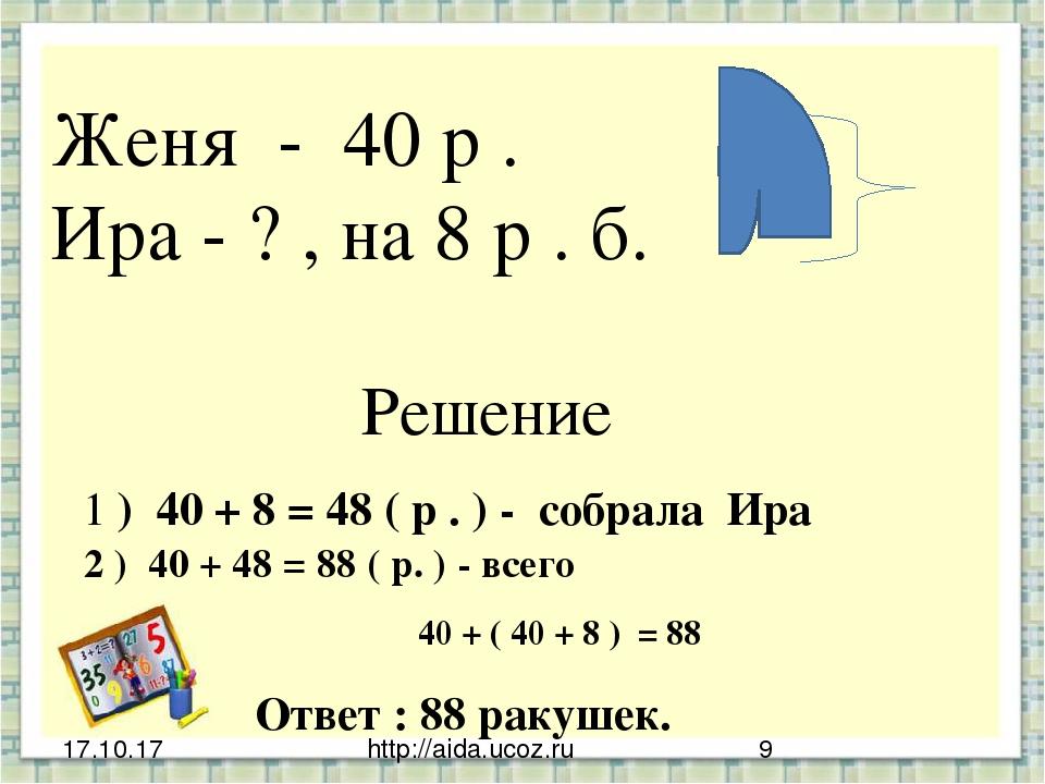 http://aida.ucoz.ru Женя - 40 р . Ира - ? , на 8 р . б. Решение 1 ) 40 + 8 =...