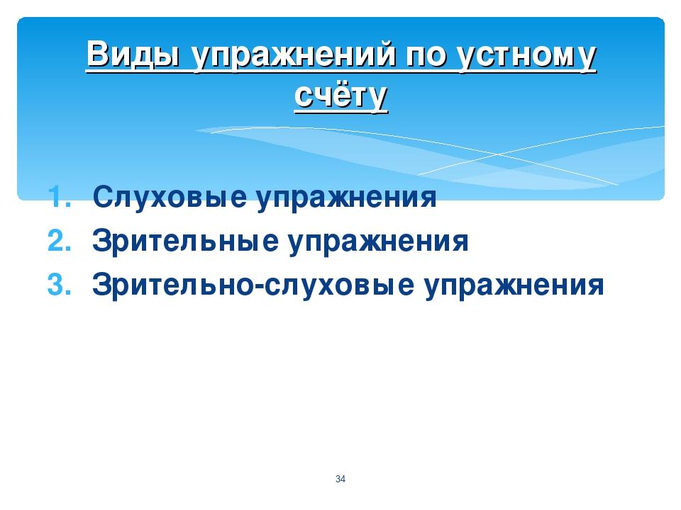 Слуховые упражнения Зрительные упражнения Зрительно-слуховые упражнения * Вид...