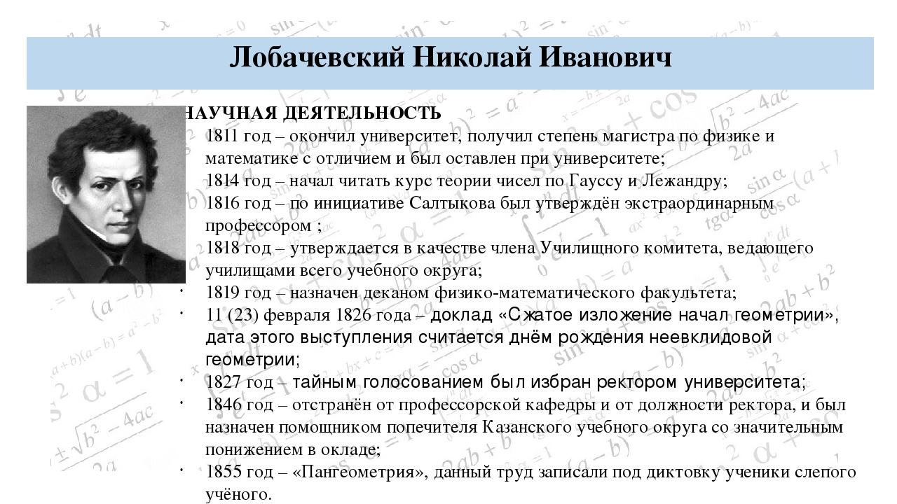 Лобачевский Николай Иванович БИОГРАФИЯ: Дата рождения: 20 ноября (1 декабря)...