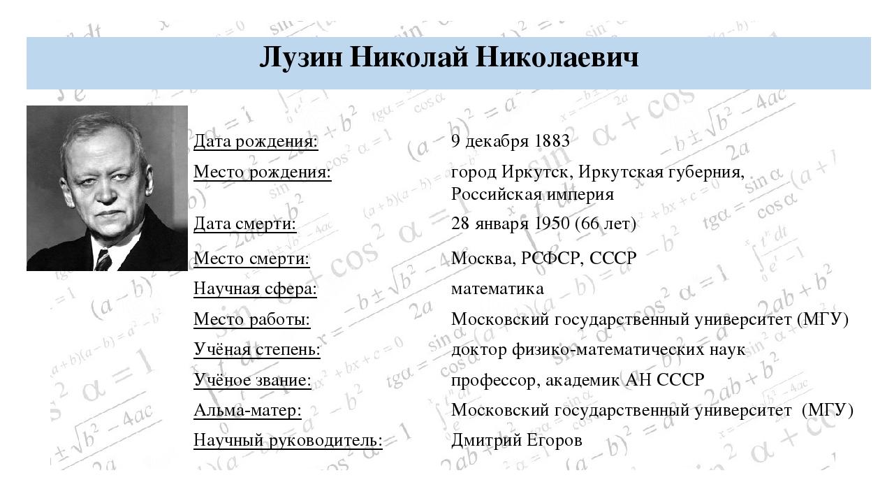 Колмогоров Андрей Николаевич БИОГРАФИЯ: Дата рождения: 12 (25) апреля 1903 Ме...