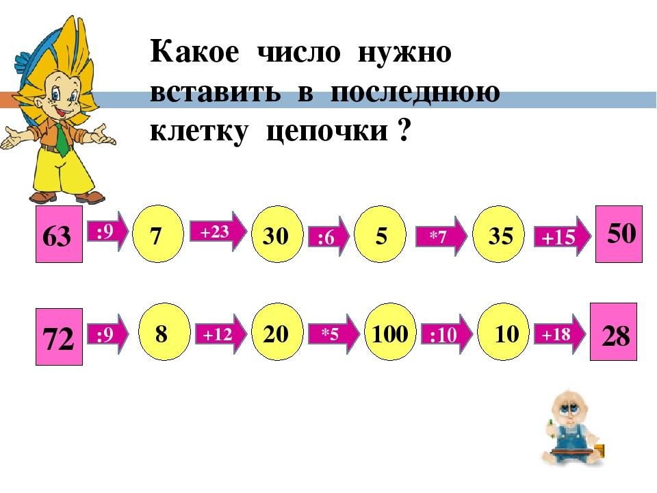 63 :9 +23 :6 *7 +15 7 30 5 35 50 72 :9 +12 *5 :10 +18 8 20 100 10 28 Какое чи...