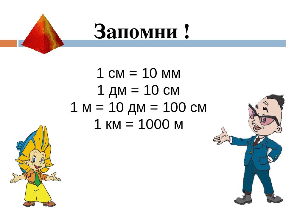 1 см = 10 мм 1 дм = 10 см 1 м = 10 дм = 100 см 1 км = 1000 м Запомни !