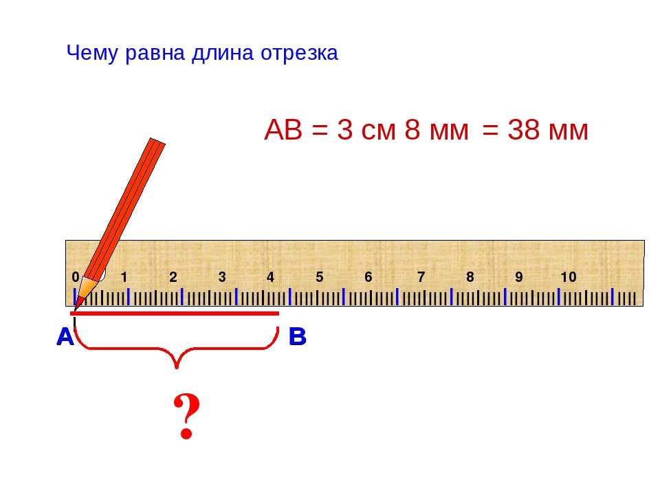 ? АВ = 3 см 8 мм Чему равна длина отрезка = 38 мм