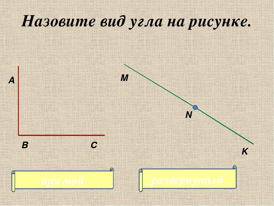Назовите вид угла на рисунке. А С В M K N прямой развернутый