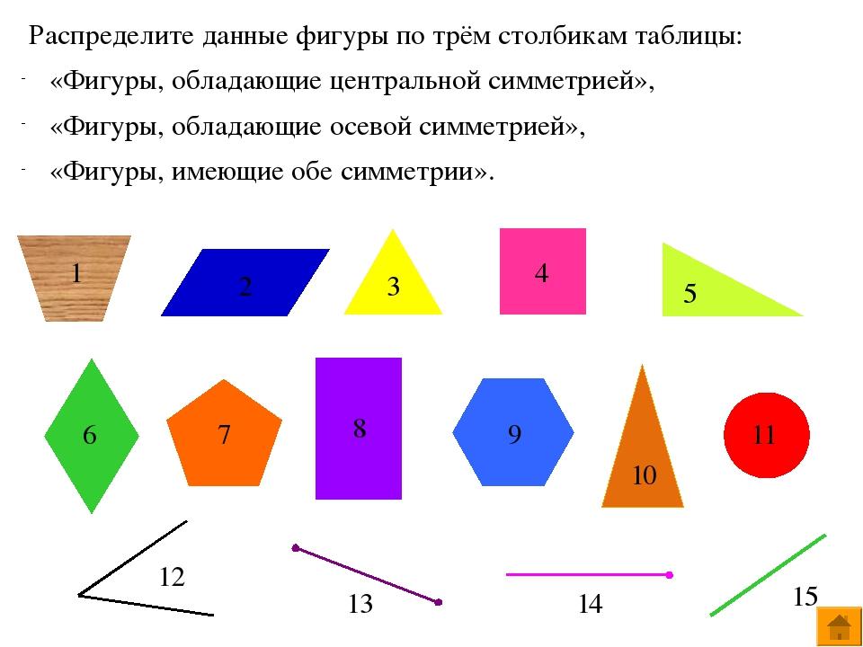 Распределите данные фигуры по трём столбикам таблицы: «Фигуры, обладающие цен...