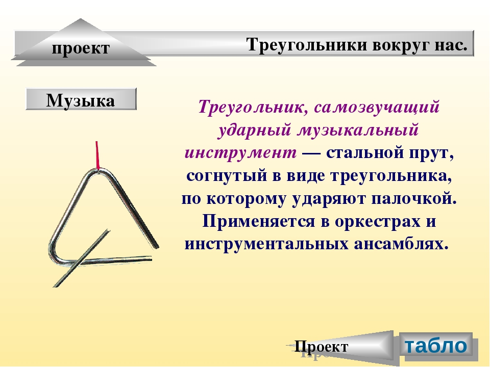 Треугольники вокруг нас. проект Музыка Треугольник, самозвучащий ударный музы...