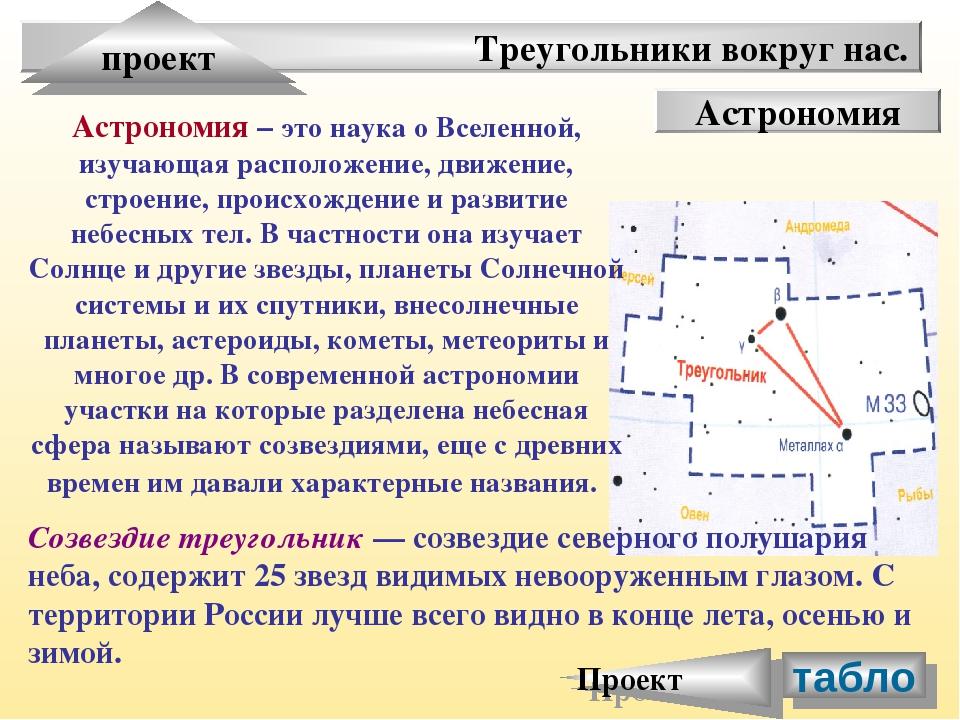 Треугольники вокруг нас. проект Астрономия Астрономия – это наука о Вселенной...
