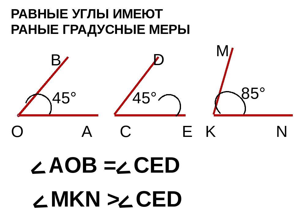 РАВНЫЕ УГЛЫ ИМЕЮТ РАНЫЕ ГРАДУСНЫЕ МЕРЫ 85° О А В 45° Е С D 45° K N M