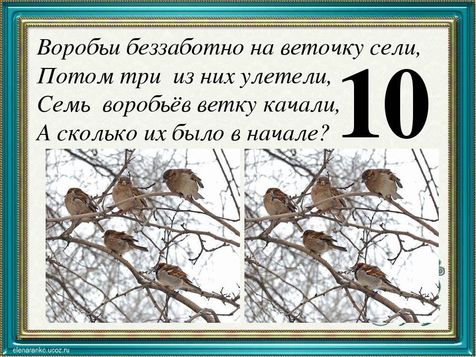 Воробьи беззаботно на веточку сели, Потом три из них улетели, Семь воробьёв в...