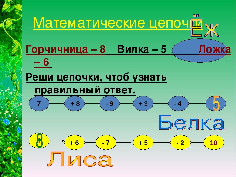 Математические цепочки Горчичница – 8 Вилка – 5 Ложка – 6 Реши цепочки, чтоб...