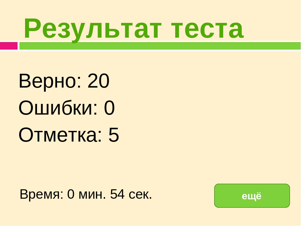 Результат теста Верно: 20 Ошибки: 0 Отметка: 5 Время: 0 мин. 54 сек. ещё испр...
