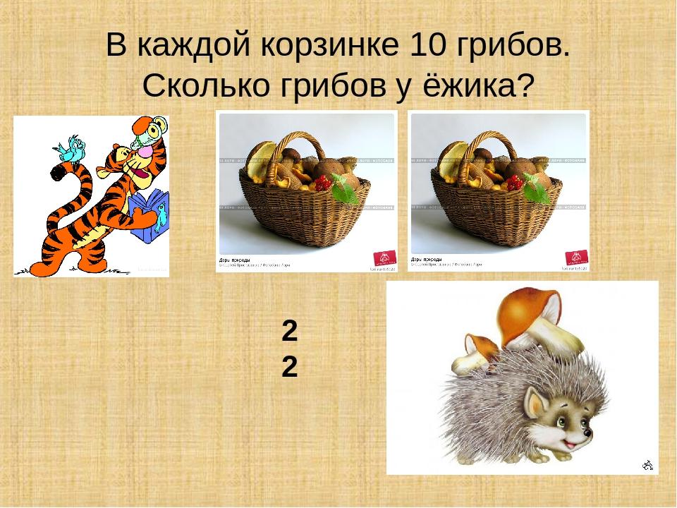В каждой корзинке 10 грибов. Сколько грибов у ёжика?