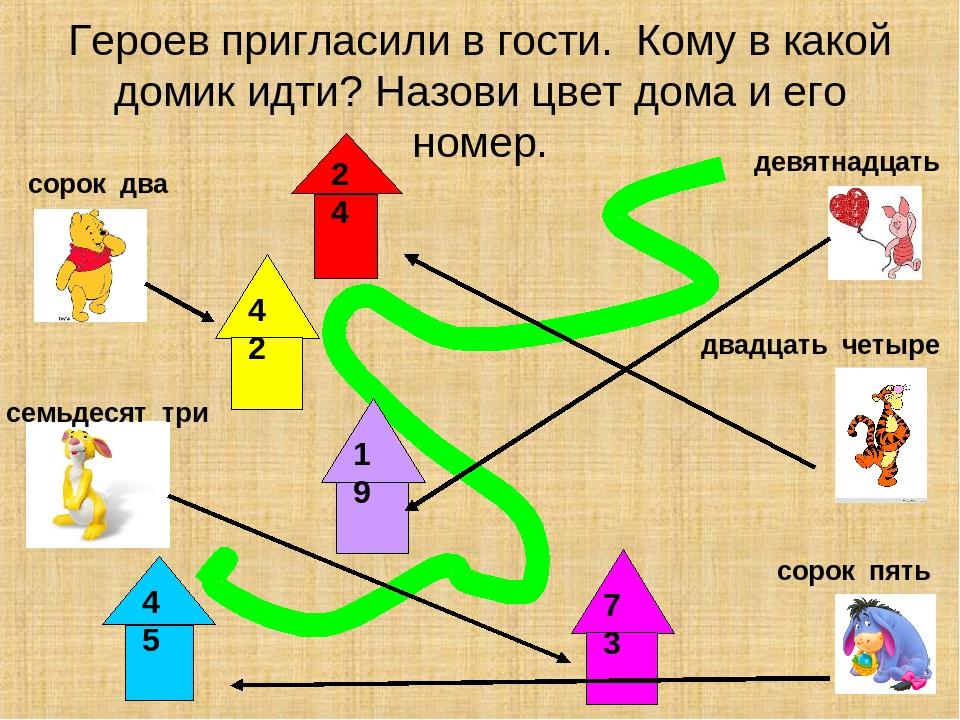 Героев пригласили в гости. Кому в какой домик идти? Назови цвет дома и его но...