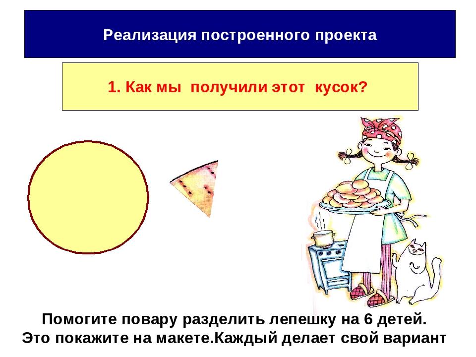 Помогите повару разделить лепешку на 6 детей. Это покажите на макете.Каждый д...