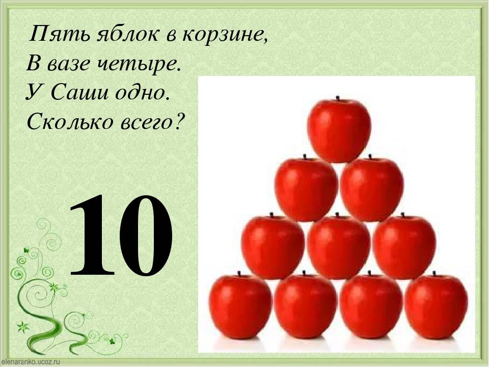 Пять яблок в корзине, В вазе четыре. У Саши одно. Сколько всего? 10