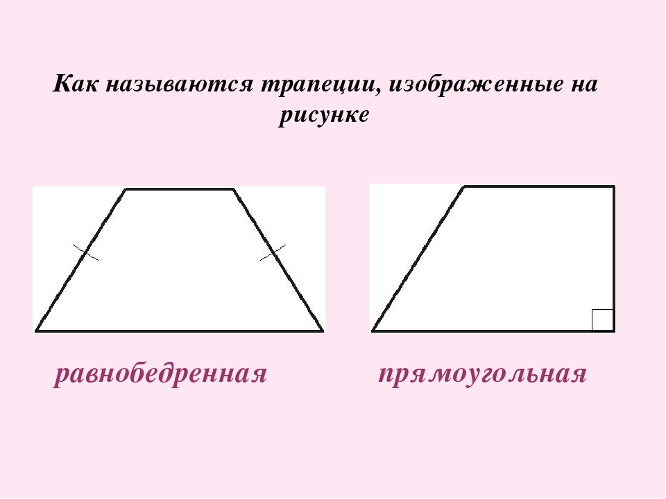 Как называются трапеции, изображенные на рисунке равнобедренная прямоугольная