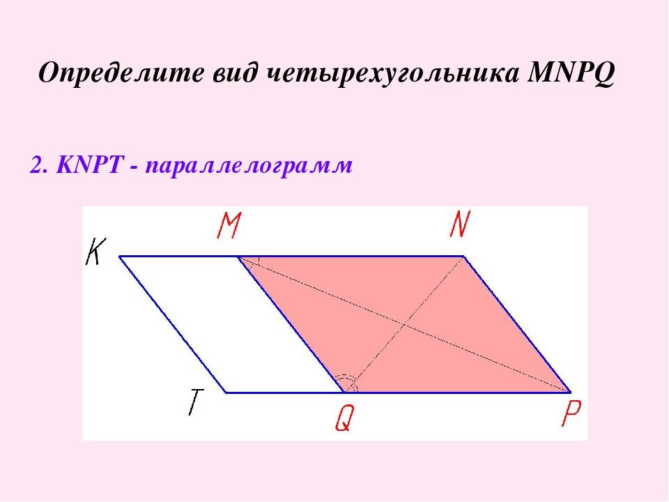 Определите вид четырехугольника MNPQ 2. KNPT - параллелограмм