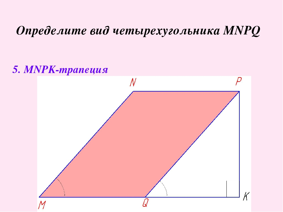 Определите вид четырехугольника MNPQ 5. MNPK-трапеция