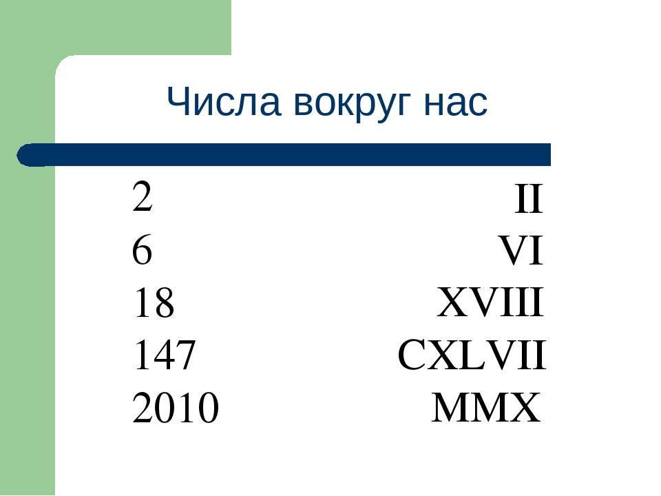 Числа вокруг нас 2 6 18 147 2010 II VI XVIII CXLVII MMX