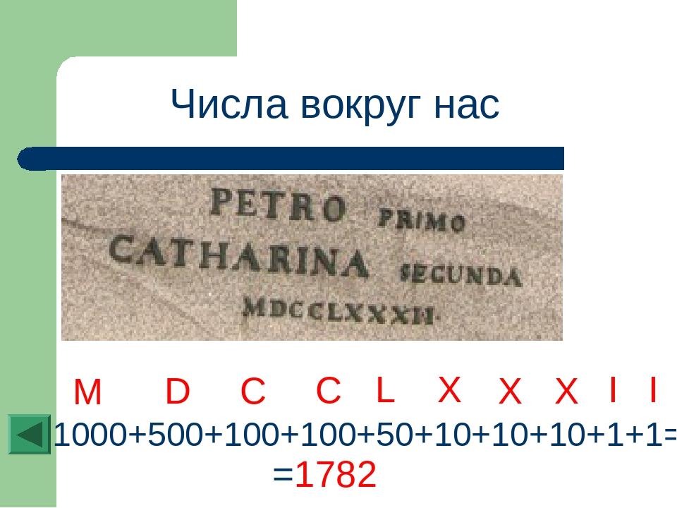Числа вокруг нас I 1000+500+100+100+50+10+10+10+1+1= =1782 X L C D M C X X I