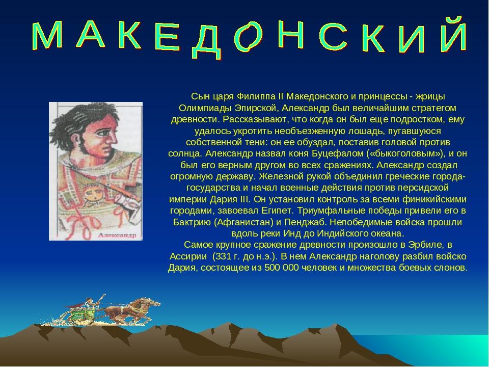 Сын царя Филиппа II Македонского и принцессы - жрицы Олимпиады Эпирской, Алек...