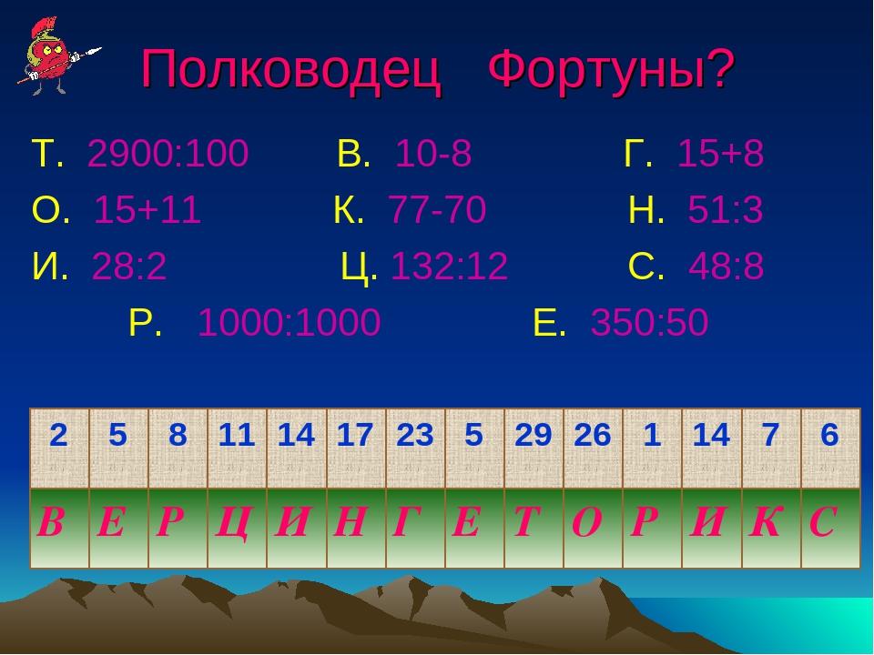 Полководец Фортуны? Т. 2900:100 В. 10-8 Г. 15+8 О. 15+11 К. 77-70 Н. 51:3 И....