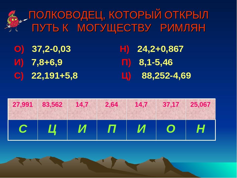 ПОЛКОВОДЕЦ, КОТОРЫЙ ОТКРЫЛ ПУТЬ К МОГУЩЕСТВУ РИМЛЯН О) 37,2-0,03 Н) 24,2+0,86...