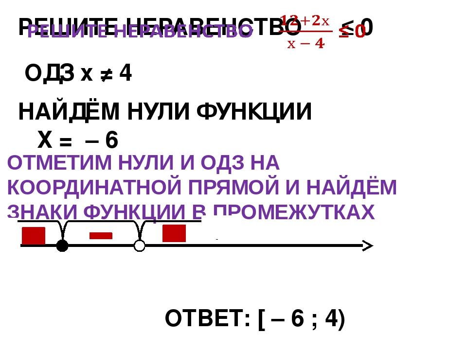 НАЙДЁМ НУЛИ ФУНКЦИИ Х = – 6 ОТВЕТ: [ – 6 ; 4) ОДЗ х ≠ 4