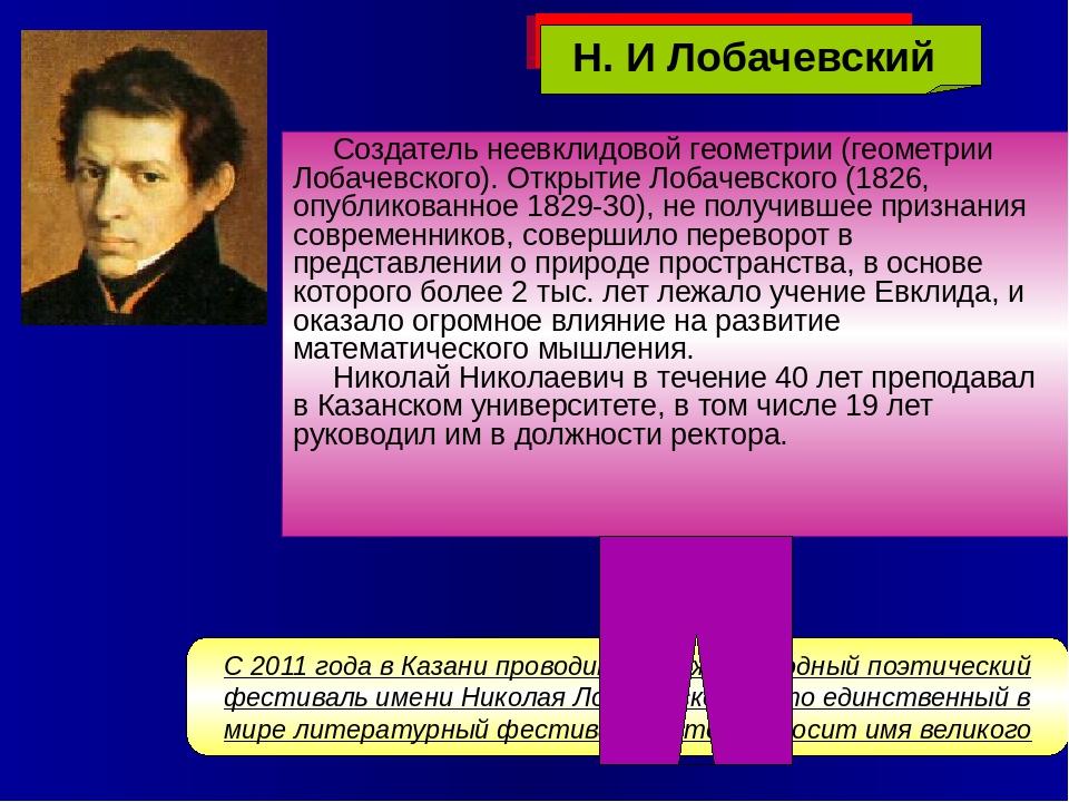 Создатель неевклидовой геометрии (геометрии Лобачевского). Открытие Лобачевск...