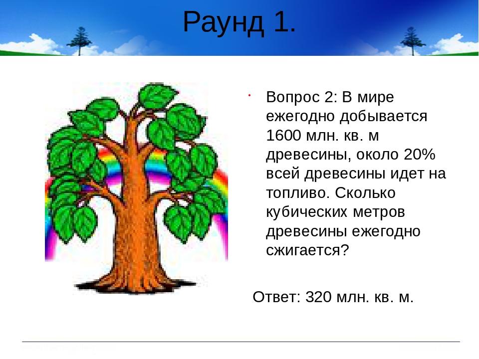 Раунд 1. Вопрос 2: В мире ежегодно добывается 1600 млн. кв. м древесины, окол...