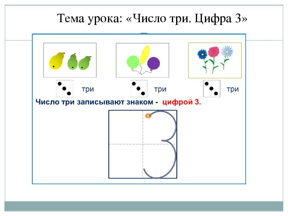 Тема урока: «Число три. Цифра 3»